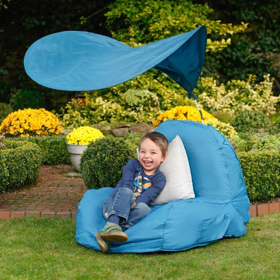 Sitzsack Flexi mit Sonnensegel, blau