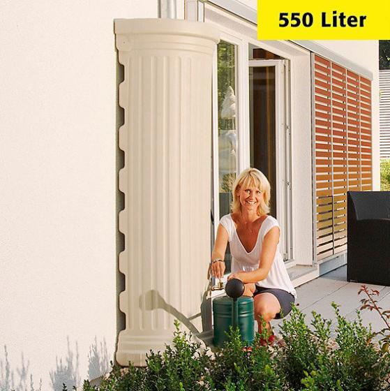Regenwassertank Säule 550 Liter, sandbeige