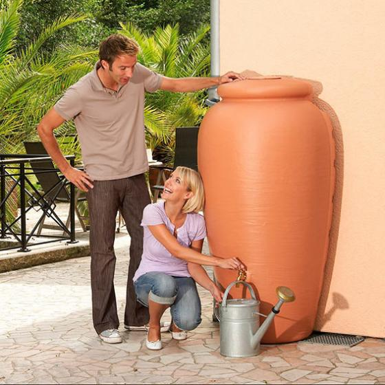 Regenwassertank Wand-Amphore 350 Liter, terracotta