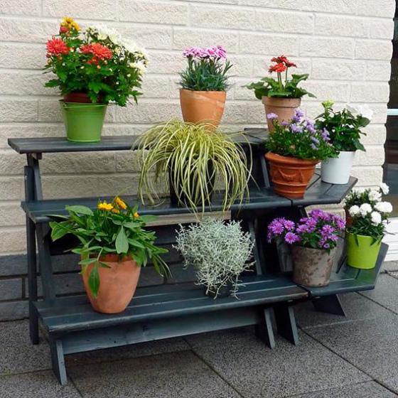 Blumentreppe Anja mit Eckelement, anthrazit