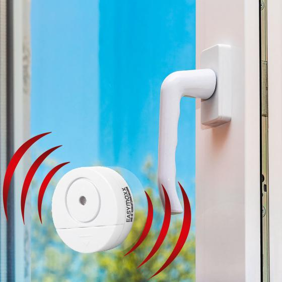 EASYmaxx Security Fensteralarm mit Erschütterungssensor, 2er-Set