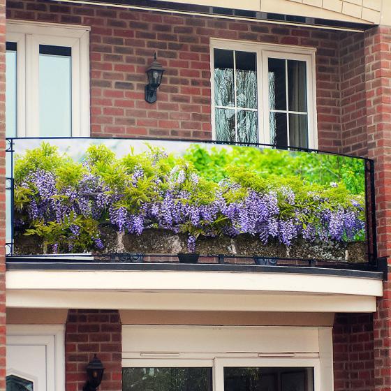 Balkon-Sichtschutz, Blue Rain, 250 x 80 cm