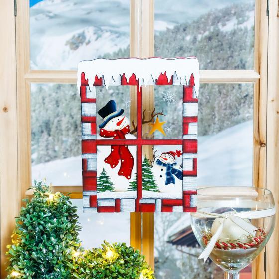 Weihnachts-Fensterbild Schneegestöber