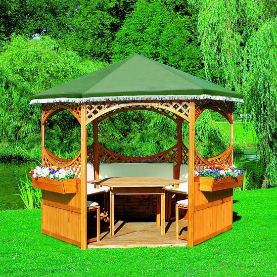 Set Pavillon Palma mit grünem Foliendach