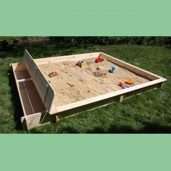 Sandkasten Yanick mit Sitz- und Staukasten