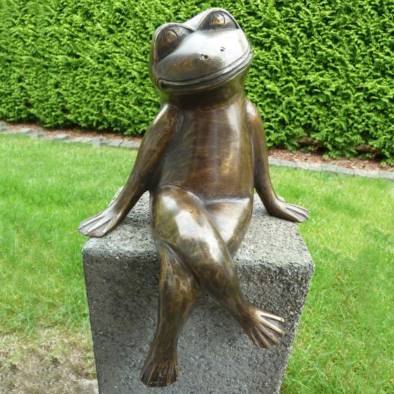 Bronze-Figur Kantenfigur Frosch Lucky