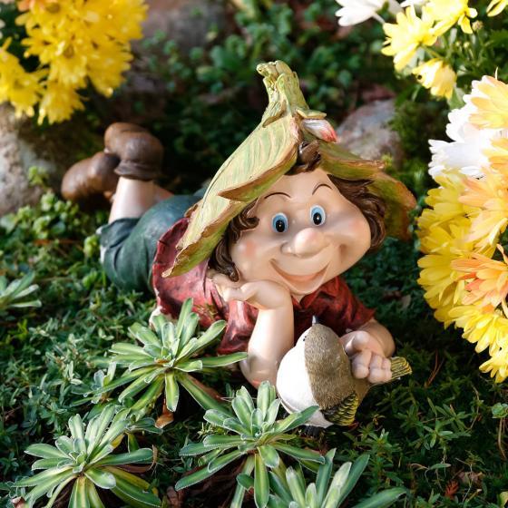 Gartenfigur Gnom Rainer Glückspilz
