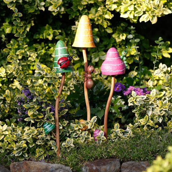Gartenstecker Bunte Pilze, 3er-Set