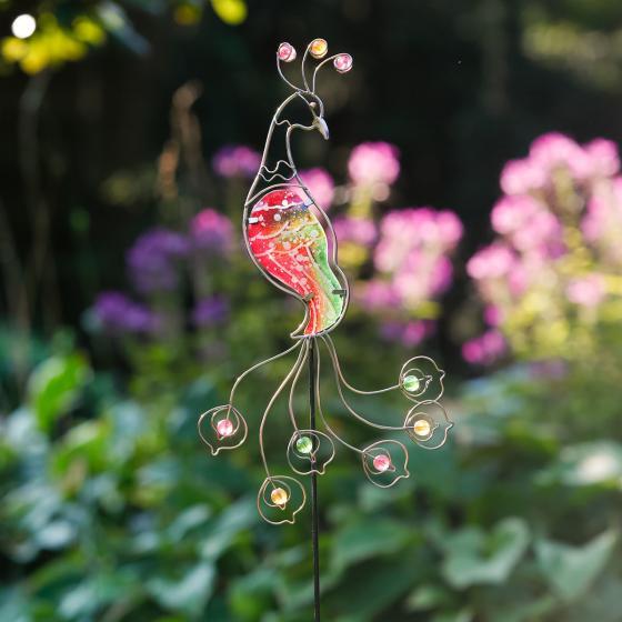 Gartenstecker Pfau Ruby
