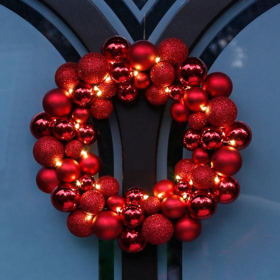 LED-Türkranz Christmas Time, 36 cm, Kunststoff, rot