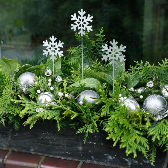 Gartenstecker Silberflocke, 3er-Set