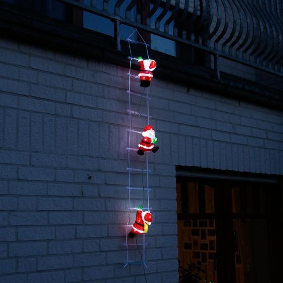 LED-Weihnachtsmann-Trio auf Leiter