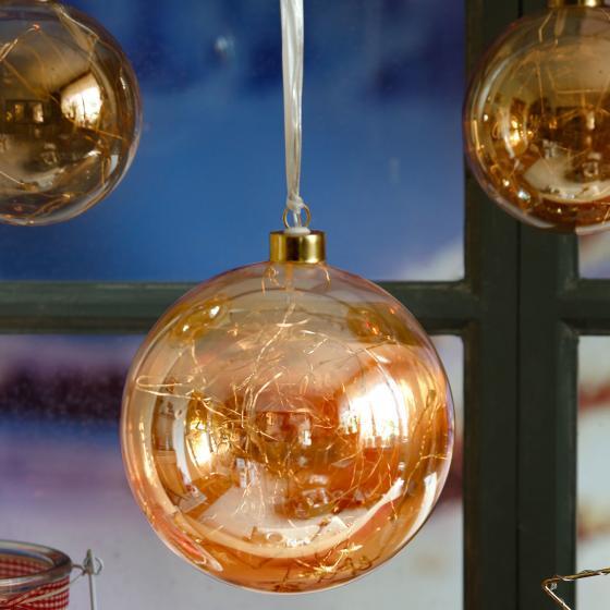 LED-Glaskugel Golden Glow, 15x15x15 cm, Glas, klar