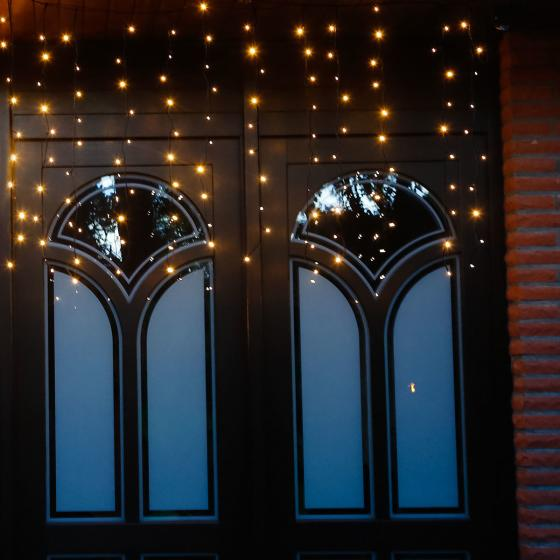 Star Batterie-LED-Lichtervorhang 120 LED´s, 110x100 cm, schwarz
