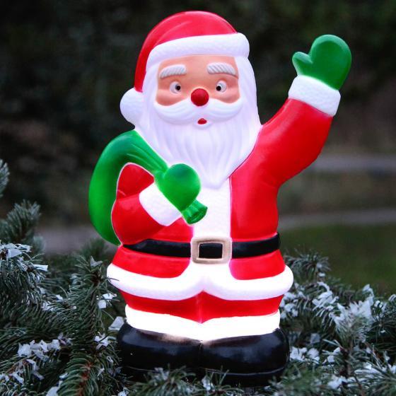 Star LED-Gartenstecker Weihnachtsmann, 28x18x11 cm, Kunststoff, bunt