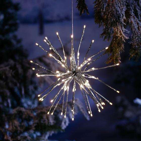Star LED-Leuchtstern Winter-Feuerwerk, 40 cm, Metall und Kunststoff, silber