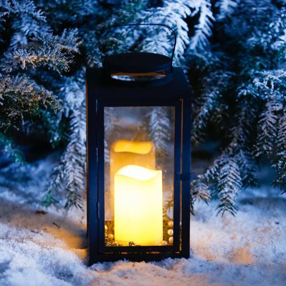 Star LED-Outdoorkerze Weihnachtszeit, 11x7 cm, Kunststoff, creme