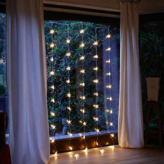 Star LED-Lichtervorhang Nachthimmel, 50 LEDs, 200x90x1 cm, Kunststoff, transparent