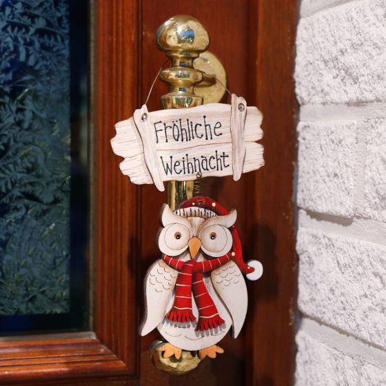 Türschild Weihnachtseule