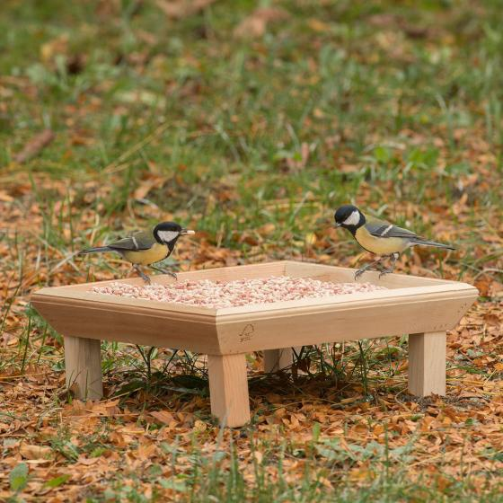 Futtertisch zur Bodenfütterung, 32x32x12 cm, Holz, natur
