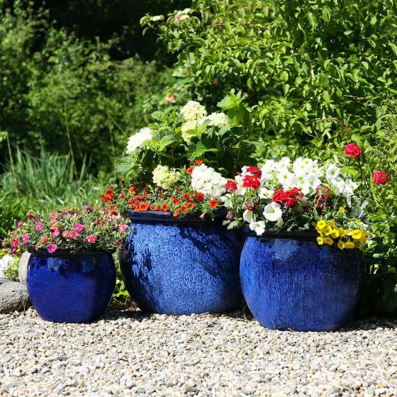 Pflanztopf Bergsee, 3er-Set, Terracotta, blau