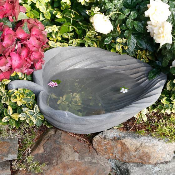 Vogeltränke Mammutblatt, 14,5x36x49,5 cm, Fiberglas, grau