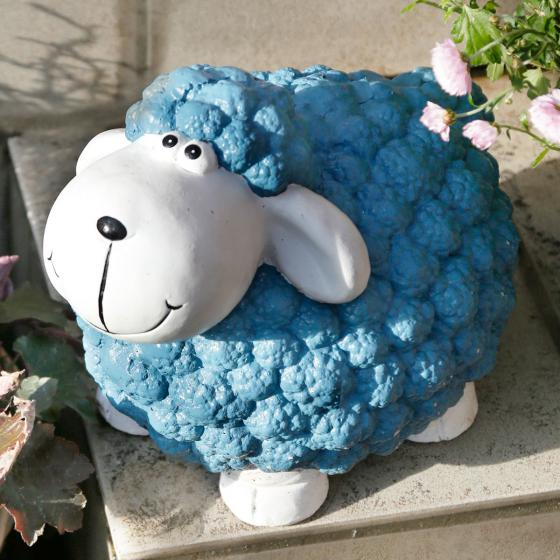 Gartenfigur Dekoschaf Gloria, 24x27x35 cm, Fiberglas, blau
