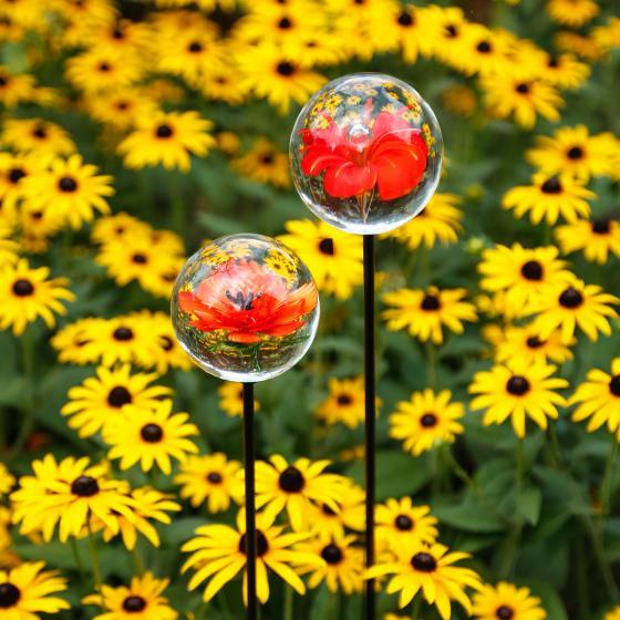Glaskunst-Stecker roter Blütentraum inkl. Stab, 2er-Set, 6x100 cm