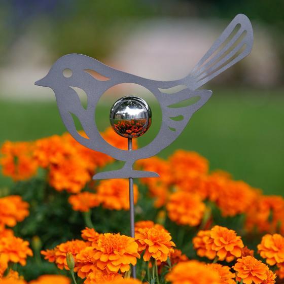 Gartenstecker Kugeliger Vogel, 100x5x25 cm, Edelstahl, grau