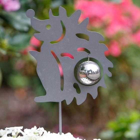Gartenstecker Kugeliger Igel, 100x5x8 cm, Edelstahl, grau