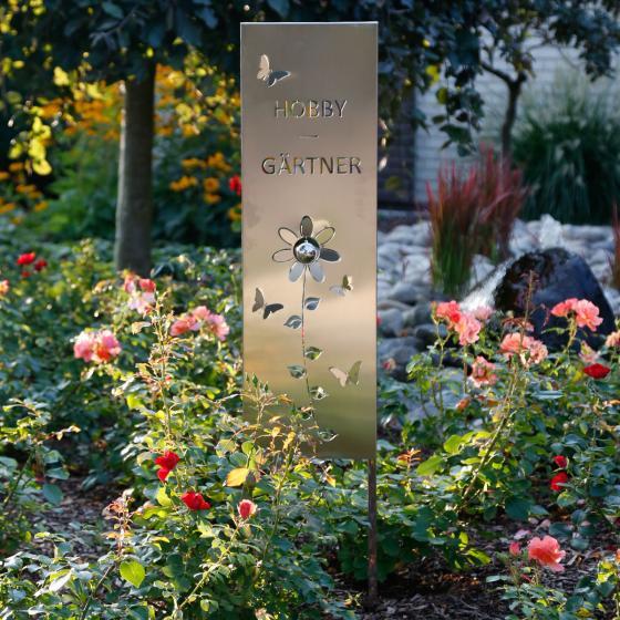 Gartenstecker Hobby Gärtner, 120x3,8x25 cm, Edelstahl, silber