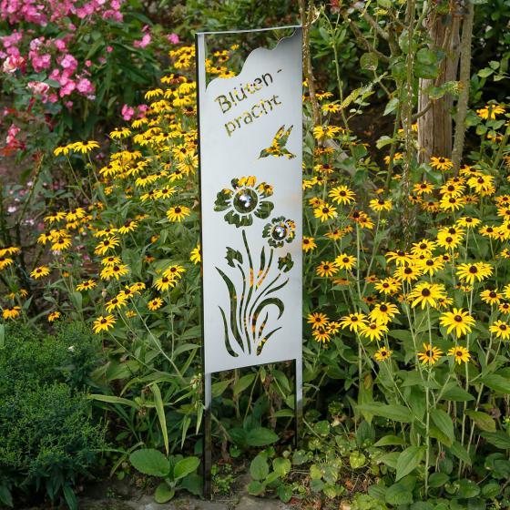 Gartenstecker Blütenpracht, 120x3,8x25 cm, Edelstahl, silber