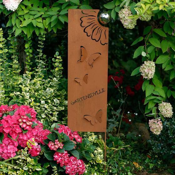 Gartenstrecker Gartenidylle, 128x8x25 cm, Metall, Rostoptik