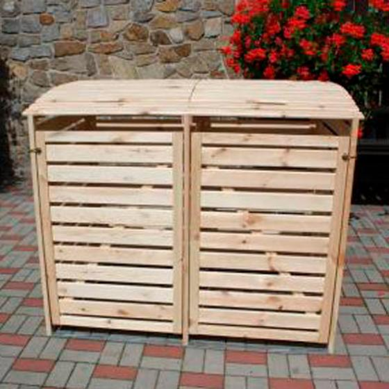 Mülltonnenbox Vario III für 2 Tonnen, natur