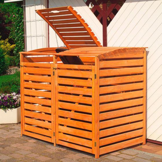 Mülltonnenbox Vario III für 2 Tonnen, honigbraun