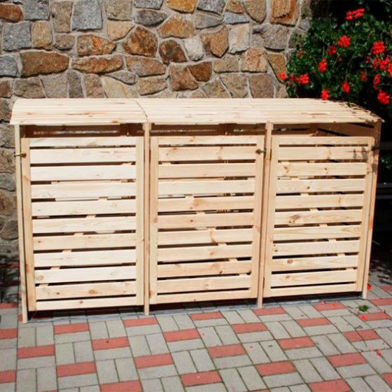 Mülltonnenbox Vario III für 3 Tonnen, natur