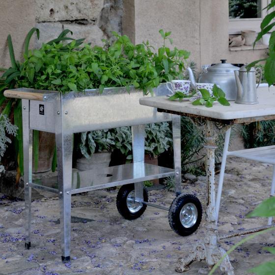 Hochbeet Urban Garden mit Rädern, silber, 75x35x80 cm