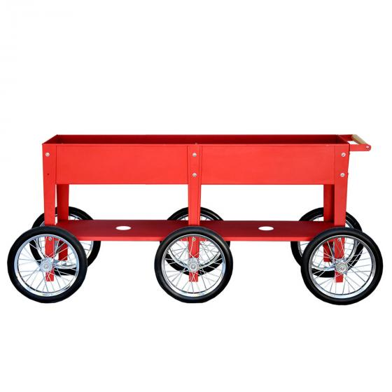 Hochbeet Urban Garden Wheels, rot, 150x35x80 cm
