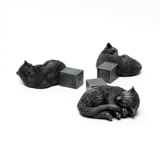 Kübelfuß Bronzeoptik 3er-Set Kätzchen, 3,5x9x11 cm