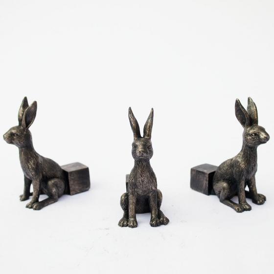 Kübelfuß Bronzeoptik 3er-Set Häschen, 7x3,5x8 cm