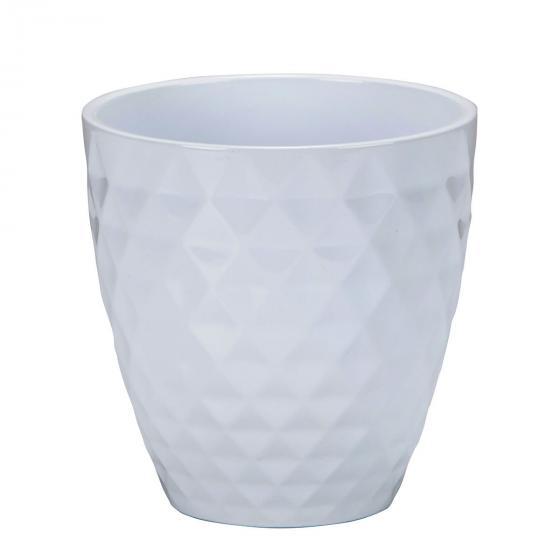 Keramik-Orchideengefäß Alaska, rund, 14,3x14x14 cm, weiß