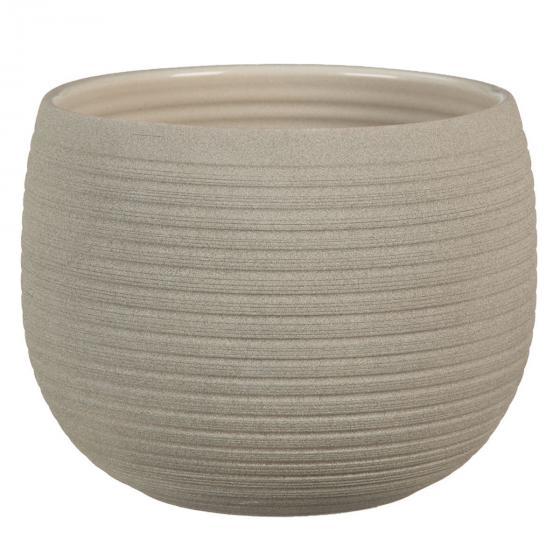 Keramik-Übertopf, rund, 15,5x21x21 cm, Taupe Stone
