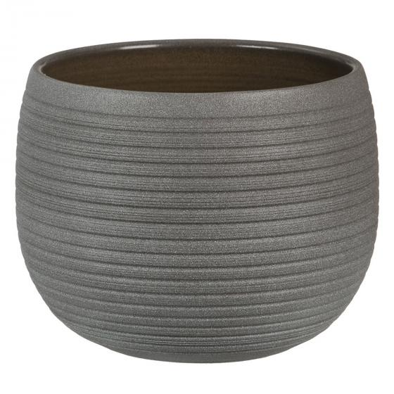 Keramik-Übertopf, rund, 14x18x18 cm, Umber Stone