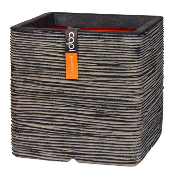 Capi Pflanzkübel RIB quadratisch, 40x40x40 cm, anthrazit