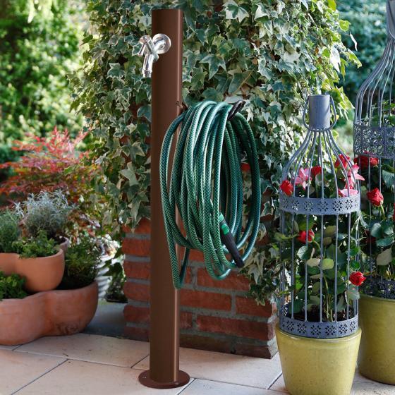 Wasserzapfsäule Tondo, 100x14x21 cm, Stahl, braun