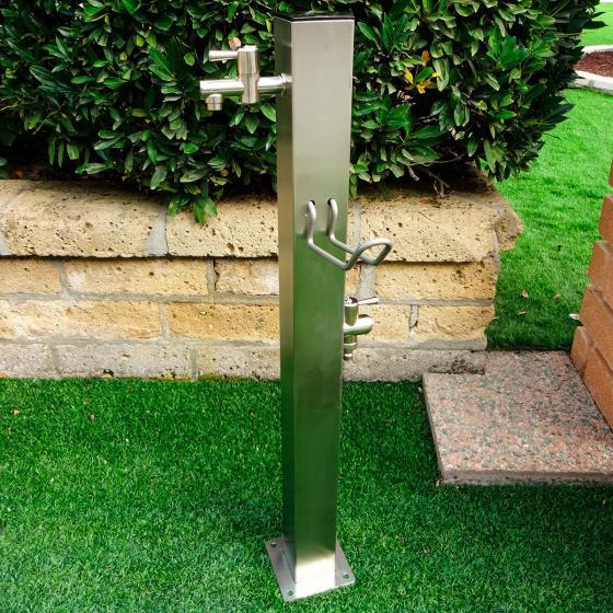 Wasserzapfsäule Silverline, eckig, 100x14x21 cm, Edelstahl