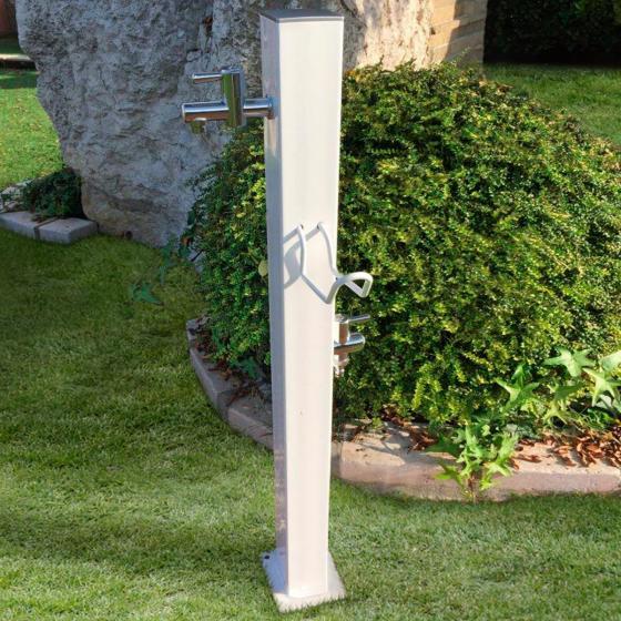 Wasserzapfsäule Quadra, 100x14x21 cm, Stahl, weiß
