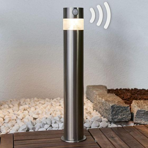 Solar-LED-Sockelleuchte Kalypso mit Bewegungsmelder, 50x7,8x7,8 cm, Edelstahl, silber