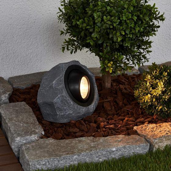 Solar-LED-Leuchtstein Lior, 16x19,5x14 cm, grau