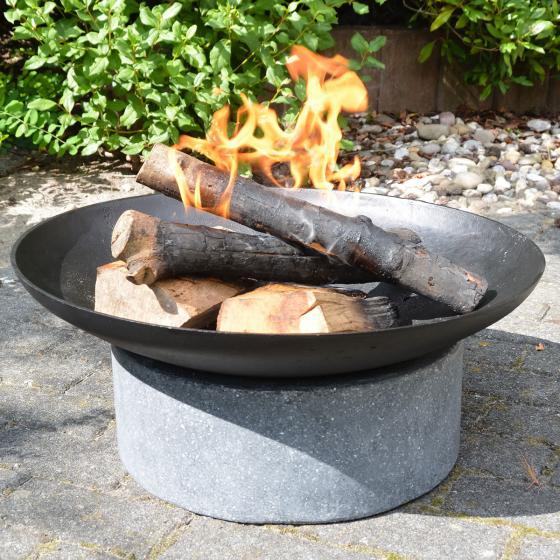Esschert Design Feuerschale Granito, 23x59x59 cm, grau, schwarz